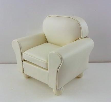 Dollhouse Miniature 1//12th Scale Creamy White Leather Club Chair