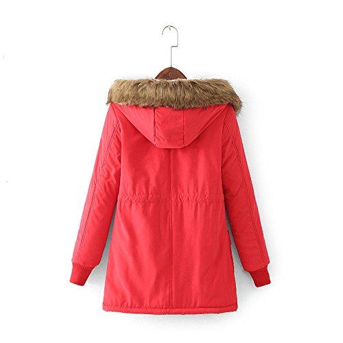 Chaud Hiver Rouge Militaire Vest Capuche Femme Parka Style Fourrure À Fousse Avec Manteau tqF575