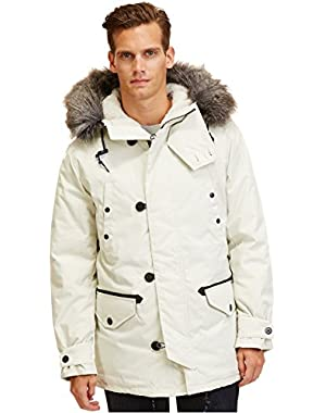 Men's Silver Birch Parka with Removable Faux-Fur Hood Jacket, Large