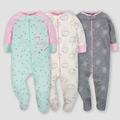 Gerber Onesies Baby Girl Sleep N Play Sleepers 3 Pack (0-3 Months, Clouds)