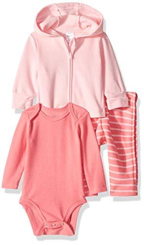 Hanes Ultimate Baby Zippin Zip Pant with Bodysuit and Fleece Hoodie, Pink Stripe, 6-12 ()