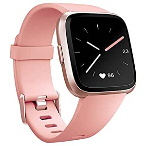 Hamile Bands Compatible for Fitbit Versa/Lite/Special Edition, Classic Soft Watch Bands Straps Wristbands for Fitbit Versa Smartwatch, 6, Peach, Small