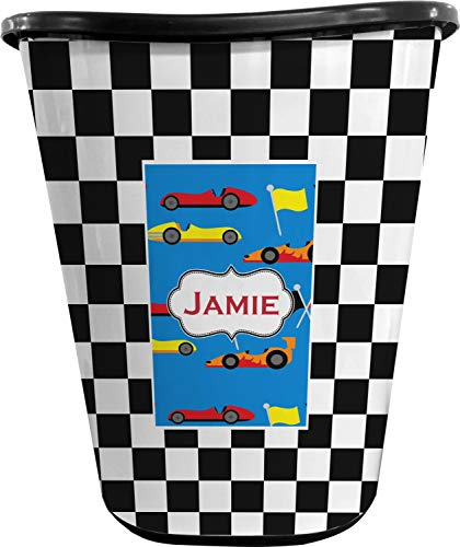 RNK Shops Checkers & Racecars Waste Basket - Double Sided (Black) (Personalized)