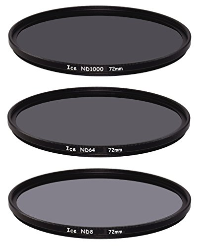 ICE 72mm Slim ND Filter Set ND1000 ND64 ND8 Neutral Density 72 10, 6, 3 Stop Optical Glass