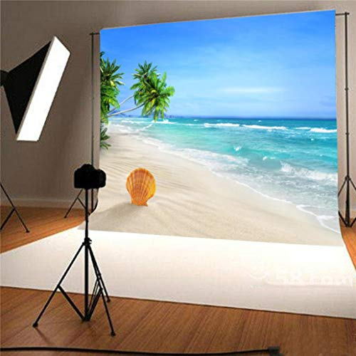 vmree Indoor Photographic Studio Backdrop, 3D Sunny Beach Themed Photo Shooting Background Props Wall Hanging Screen Post-Production Curtain Folding & Washable Art Cloth 5x3FT. (C) -
