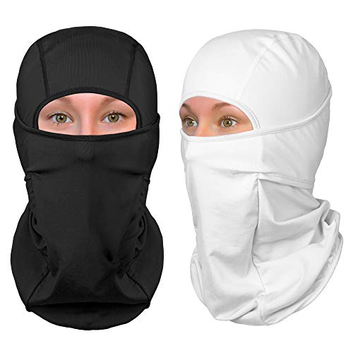 The Friendly Swede Balaclava Face Mask - Ski and Winter Sports Headwear, Neck Gaiter and Motorcycle Helmet Liner (Standard/Nordic/Arctic) - [1-Pack or 2-Pack] (Nordic, Black+White)