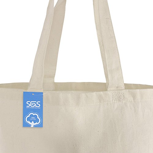 Simply Green Solutions Blank 100% Cotton Fabric Reusable Cloth Bags - Set of 5 - Tote Bags for School, Tote Bags for Grocery Shopping, Fun Promotional Items or Eco-Friendly Reusable Bags by Simply Green Solutions (Image #3)