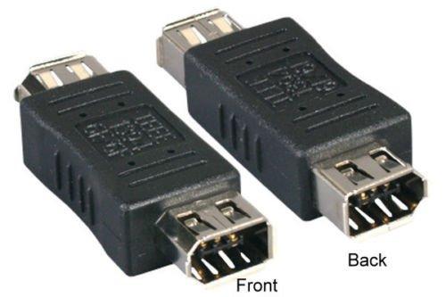 Kentek 6 Pin Female 6 Pin Female IEEE-1394A IEEE1394 Firewire iLINK DV Adapter Converter Gender Changer Extender Coupler F/F 400 Mbps for PC MAC Black
