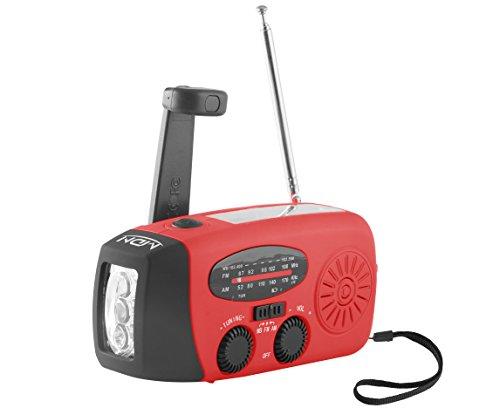 Sale! MDN® Emergency Dynamo Solar Self Powered AM/FM/WB(NOAA) Radio w/ LED Flashlight, Cell Phone Charger (Red)