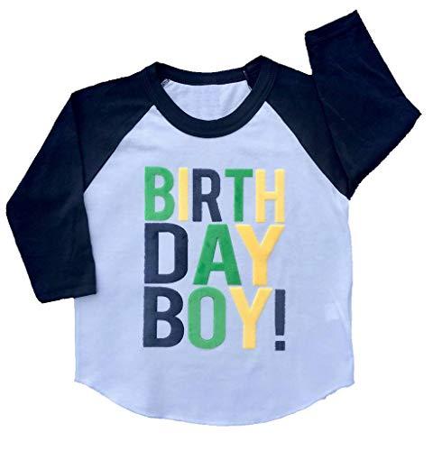 SoRock Birthday Boy Toddler Kids T-Shirt White w/Navy 3/4 Sleeves - Youth Small/8 (Sleeve Birthday 3/4)