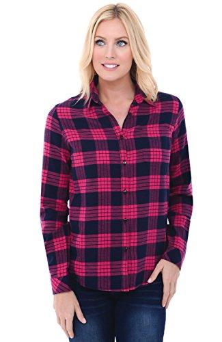 Alexander Del Rossa Womens Flannel Shirt, Button-Down Cotton Boyfriend Top, XL Classic Pink Plaid - Button Alexander