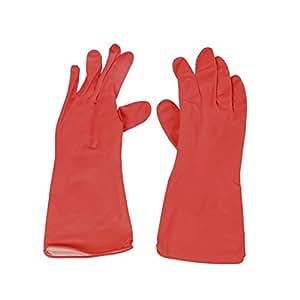 Sourcingmap–Larga látex Industria Household Full Finger–Guantes de trabajo–Rojo