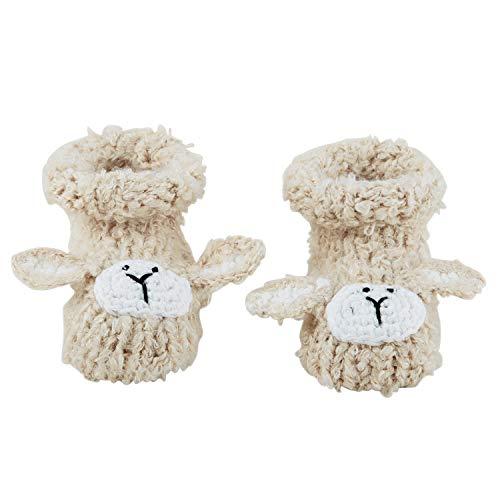 Lamb Booties - Stephan Baby Knit Animal Face Foot Finder Bootie Socks, Cream Lamb