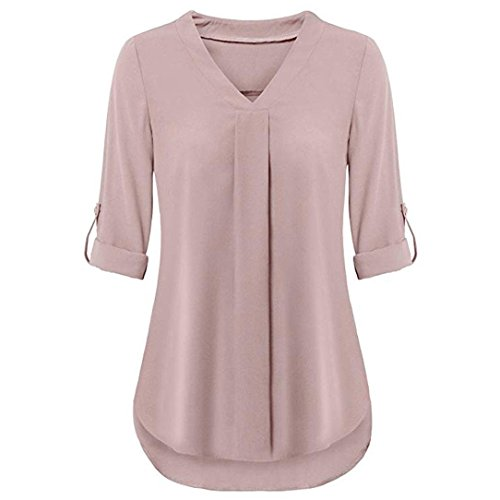 iDWZA Womens Fashion Sexy Casual Long Sleeve Roll-up V Neck Layered Top Shirt Blouses (Pink, (Club America Long Sleeve Jersey)