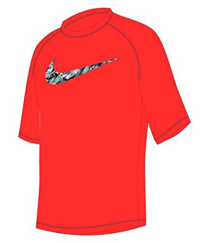 Nike Boy's Watercamo Short Sleeve Rash Guard L Bright Crimson (Boys Nike Swim Shirts)