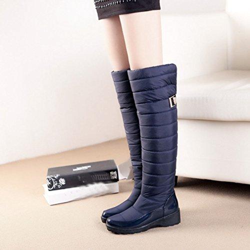 GIY Womens Winter Knee High Tall Waterproof Rian Snow Boots Fur Lined Fashion Wide Calf Arctic Snow Boot Dark Blue KCwzP5