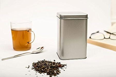Caja de metal con tapa cuadrada de 7,5 x 7,5 x 12 cm grande, cuadrada, vacía, color plateado mate, caja de almacenamiento, lata de lata, tarro de almacenamiento universal: Amazon.es: Hogar