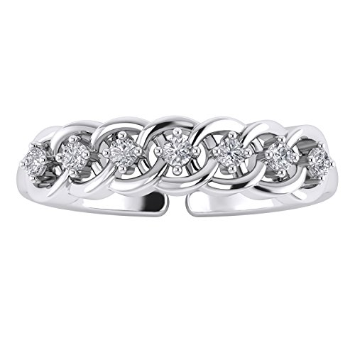 Pretty Jewels Sterling Silver 925 Women's Stylish Toe Ring With Round Cut White Cubic ()