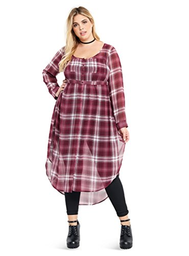 Plaid Chiffon Maxi Empire Blouse