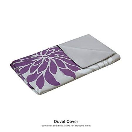 Comfort Spaces Enya 3 Piece Queen Duvet Cover Zipper Closure and Corner Ties Floral Flower Print Decor Ultra Soft Microfiber Luxury Bedding-Set Full Purple-Grey