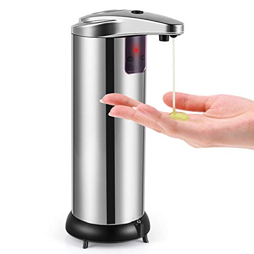 Soap Dispenser, Touchless Automatic Soap Dispenser, Upgraded Waterproof Base Infrared Motion Sensor Stainless Steel Dish…