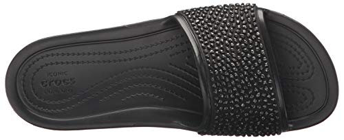 W Sloane black Sandales Femme 060 Crocs Slide Embellished Noir Bout Ouvert black qt1dw7fwz