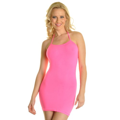(Angelina Neon Color Halter Style Seamless Mini Dress #70499_Pink)