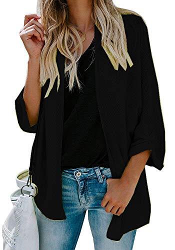 Yknktstc Womens Cardigan Sweater Knit Open Front Drape Lightweight Loose Casual Sweaters