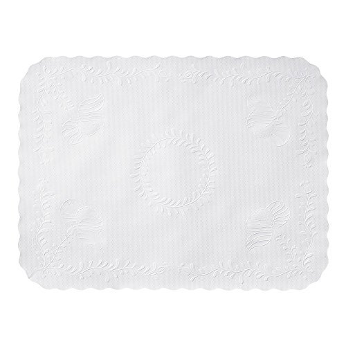 Hoffmaster TC8704462 Anniversary Embossed Scalloped Edge Traymat, 14'' x 19'', White (Pack of 2000) by Hoffmaster