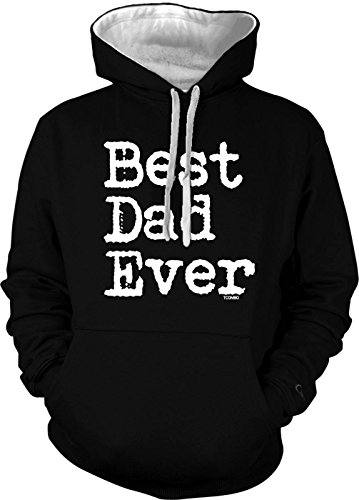 Tcombo Best Dad Ever - Father's Day Men's 2 Tone Hoodie Sweatshirt (3XL, Black/White (Fathers Day Pullover Hoodie)