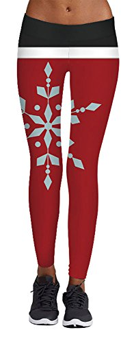 Jescakoo Womens Big Snow Flake Print Black Red Legging Pants for Ugly Christmas Party ()