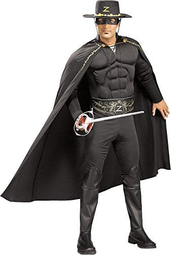 Rubie's Costume Co Men's Deluxe Muscle Chest Zorro Costume, Black, One Size (Zoro Fancy Dress)