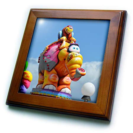 3dRose Susans Zoo Crew Scenery - Cartoon Elephant and Monkey Midway Ride - 8x8 Framed Tile (ft_294108_1)