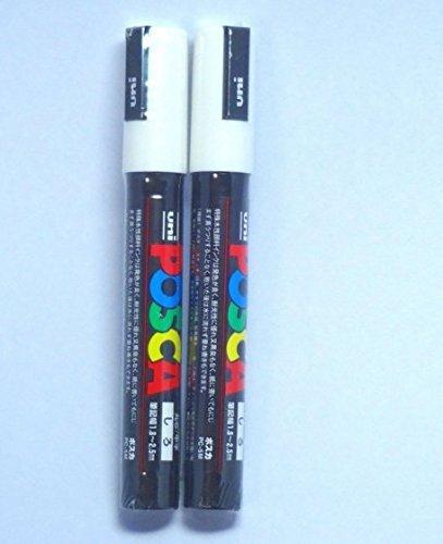 uni-posca-paint-marker-pc-5m-white-2-pens-per-pack-japan-import-komainu-dou-original-pakage