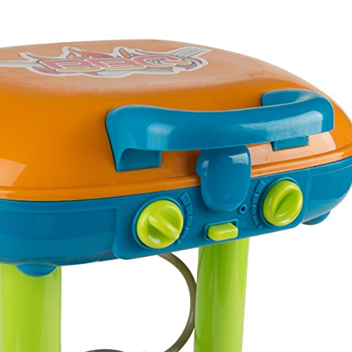 41KslfCUfYL - BBQ Grill Toy Set- Kids Dinner Playset with Realistic Sounds and Grate Lights- Includes Barbecue Food and Accessories, Pretend Kitchen
