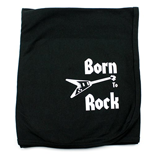 - CrazyBabyClothing Born To Rock Baby Receiving Blanket