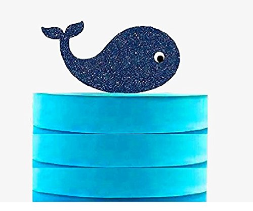 Whale Cake & Cupcake Party Supplies Decoration Toppers (Navy Blue Glitter Whale Cake Topper)