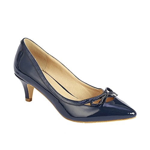 Coshare Women's Fashion Patent Bow Front Low Heel Pumps, Navy, 6 M US