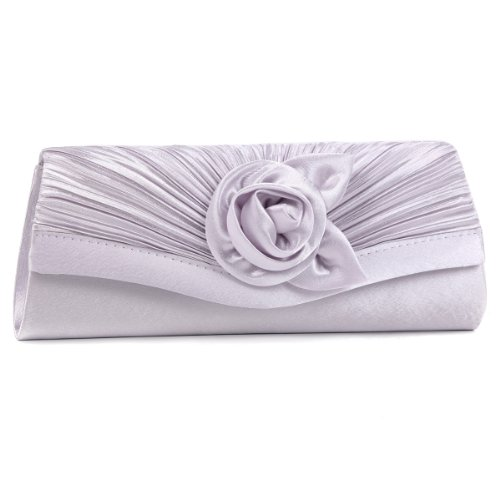 Damara Women's Satin Pleated Flower Front Evening Bag Clutch Handbag,Silver