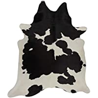 Deluxe Decor Black and White Cowhide Rug Black Cow Skin Leather Rug - Pure Cowhide Rug 5 X 4