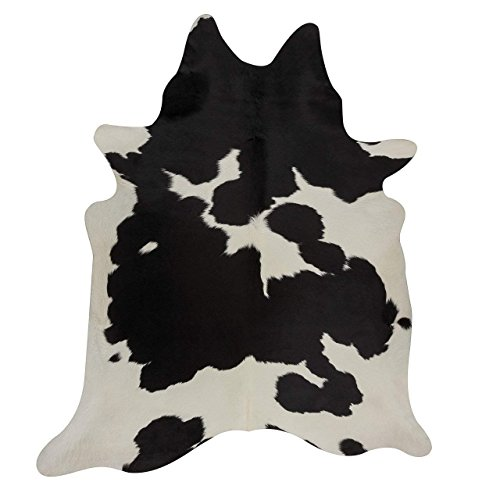 Black & White Cowhide - Deluxe Decor Black and White Cowhide Rug Black Cow Skin Leather Rug - Pure Cowhide Rug 5 X 4