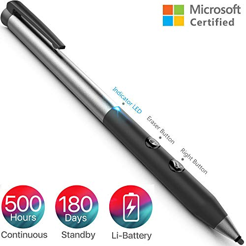 Heiyo Surface Pen Microsoft Certified Surface Pro Pen Supporting 500-Hour Working 180-Day Standby, 1024 Pressure Sensitivity Rechargeable Surface Stylus for Surface Pro/Book/Go/Laptop/Studio (Microsoft Surface Pen V4 Bluetooth Stylus Pc Black)