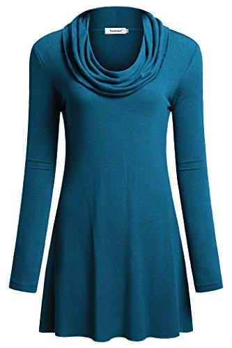 Fasterlow Women Long Sleeve Fall Tunics Cowl Neck Top Flowy Casual Blouse (Women Cowl)