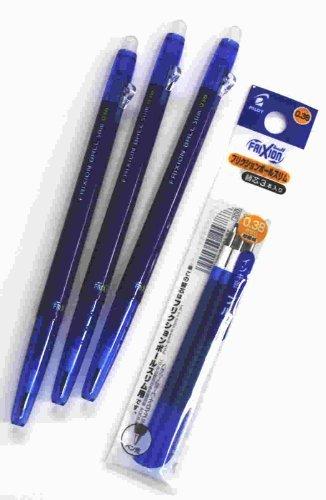 Pilot FriXion Ball slim Retractable Erasable Gel Ink Pens,Fine Point, - 0.38mm - Blue Ink- Value set of 3 & 3 Gel Ink Pen Refill Pack ()