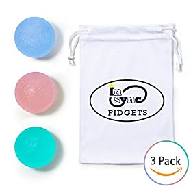 In Sync Fidgets Stress Ball - Squishy and Bouncy Tear Resistant Squeeze Fidget Toy - 3 Pack with Carrying Pouch - Durable - Helps Kids Adults with ADHD, Autism Anxiety Boredom - Fun to Play With