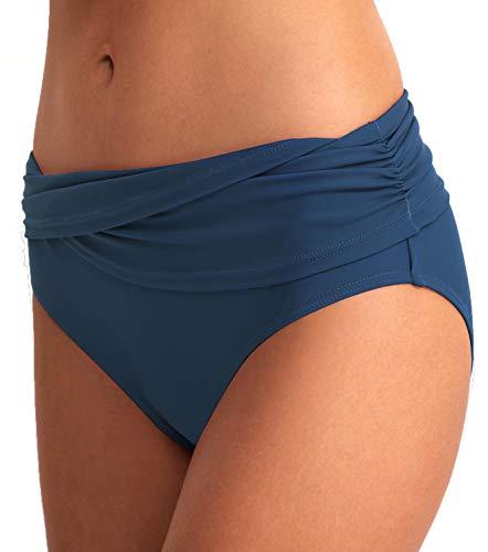 Crossover Tankini - YOSUNL Women's Bikini Bottom Front Crossover Retro Bikini Bottom Tankini Briefs Swimsuit Panty Bottoms Cerulean XL