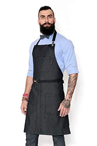 No-Tie Graphite Jeans Apron - Durable Denim, Leather Reinforcement, Split-Leg - Adjustable for Men and Women - Pro Chef, Barista, Bartender, Baker, Stylist, Tattoo, Artist, Server Aprons