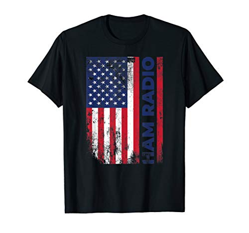 Ham Radio American Flag Distressed T-Shirt