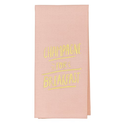About Face Designs Champagne for Breakfast Tea Towel, Pink