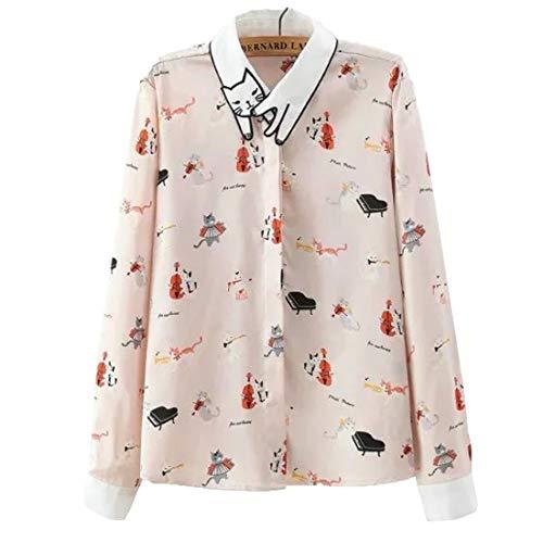 Huicai Autunno e Inverno Nuovo Abbigliamento Femminile Stampa Camicia Manica Lunga Pulsante Tempo Libero Tops Rosa